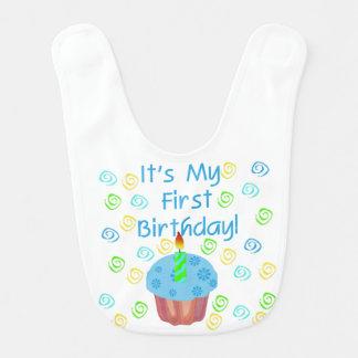 Blue Cupcake 1st Birthday Bib