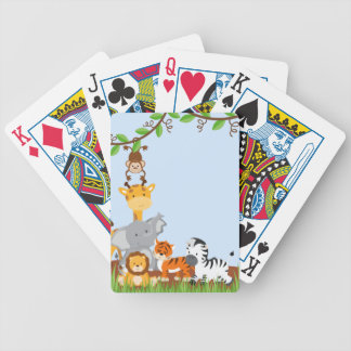 Blue Cute Jungle Baby Animals Playing Cards