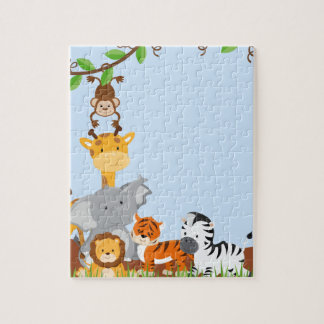 Blue Cute Jungle Baby Animals Puzzles