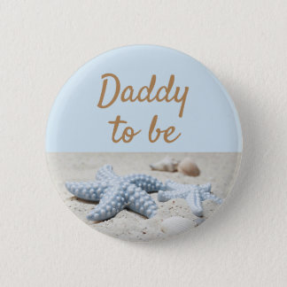 Blue Dad to be Baby Starfish  Shower Button