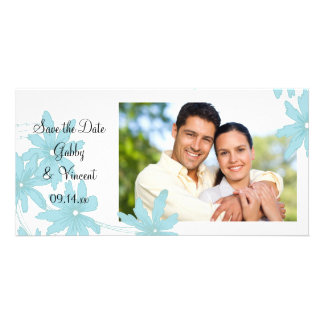 Blue Daisies Wedding Save the Date Photo Card Template