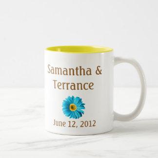 Blue Daisy Flower Customizable Two-Tone Coffee Mug