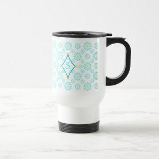 Blue Daisy Monogram Mugs