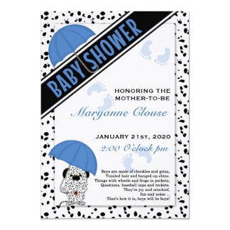 Blue Dalmatian Baby Shower Card