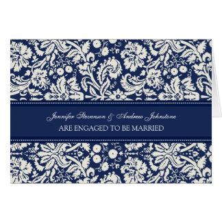 Blue Damask Engagement Announcement Card