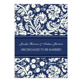 Blue Damask Engagement Announcement Cards