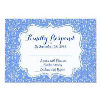 Blue Damask RSVP Card Custom Announcement