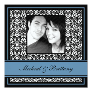 Blue Damask Wedding Engagement Announcement