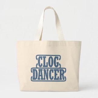 Blue Dancer Clog Dancers Swirls Clogging Large Tote Bag