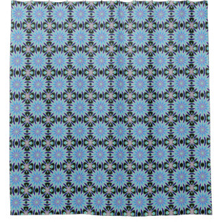 blue dandelions floral pattern shower curtain