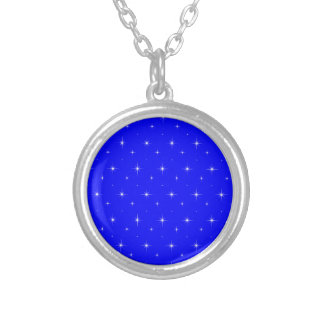 Blue-Dark-And-Bright-Stars-Elegant-Pattern Personalized Necklace