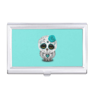 Blue Day of the Dead Baby Owl Business Card Holder