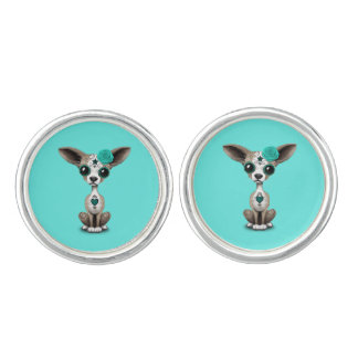 Blue Day of the Dead Chihuahua Cuff Links