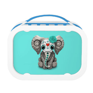 Blue Day of the Dead Elephant Lunch Box
