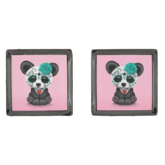 Blue Day of the Dead Sugar Skull Panda on Pink Gunmetal Finish Cufflinks