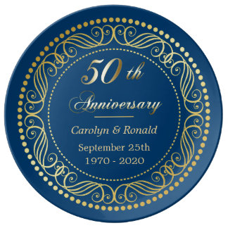 Blue Decorative Border Golden Anniversary Porcelain Plate