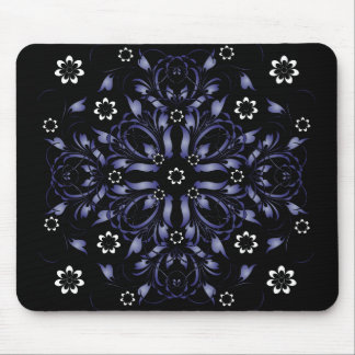 blue decorative floral pattern mouse pad