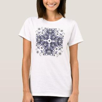blue decorative floral pattern T-Shirt
