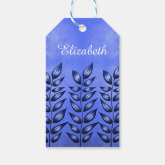 Blue Decorative Plant With Pointy Leaves Name Gift Tags