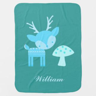 Blue Deer Polka Dot Baby Blanket