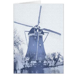 Blue Delft Dutch Windmill Card