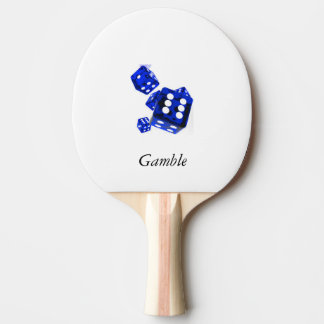 Blue dice ping pong paddle