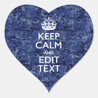 Blue Digital Camo KEEP CALM Your Text Heart Sticker