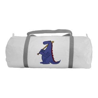 Blue Dinosaur Holding Baseball Bat Gym Bag