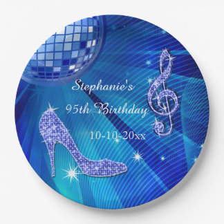 Blue Disco Ball and Heels 95th Birthday 9 Inch Paper Plate