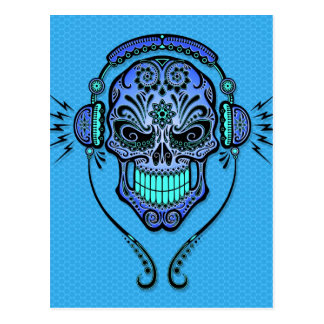 Blue DJ Sugar Skull Postcard