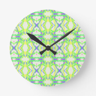 Blue DNA shape With Green Yellow Tribal Pattern Round Clock