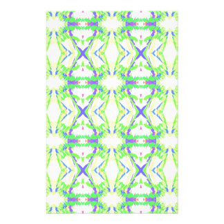 Blue DNA shape With Green Yellow Tribal Pattern Stationery