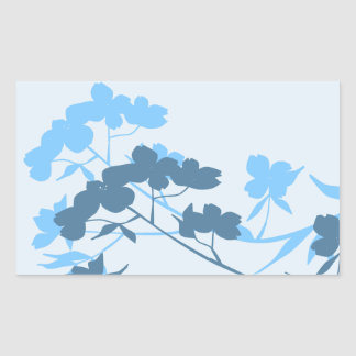 Blue Dogwood Blossom floral design stickers