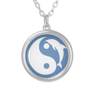 Blue Dolphin Yin Yang Symbol Silver Plated Necklace
