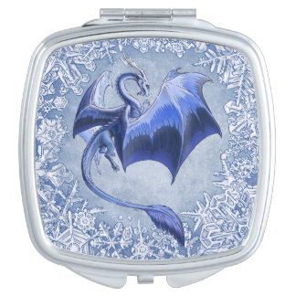 Blue Dragon of Winter Fantasy Nature Art Travel Mirror