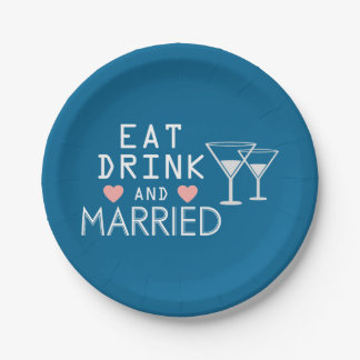 Blue Eat Drink & Be Married Wedding Announcement 7 Inch Paper Plate