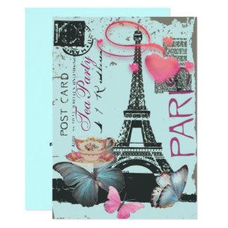Blue eiffel tower Paris bridal tea party Card
