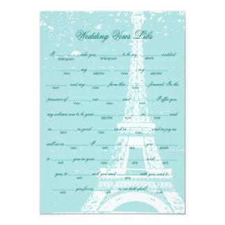 Blue Eiffel Tower Wedding Vows Libs 13 Cm X 18 Cm Invitation Card