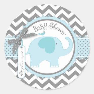 Blue Elephant and Chevron Print Baby Shower Round Sticker