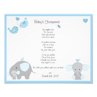 Blue Elephant Baby Boy Footprints Wall Art Print