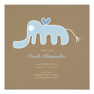 Blue Elephant Baby Boy Photo Birth Announcement Announcement
