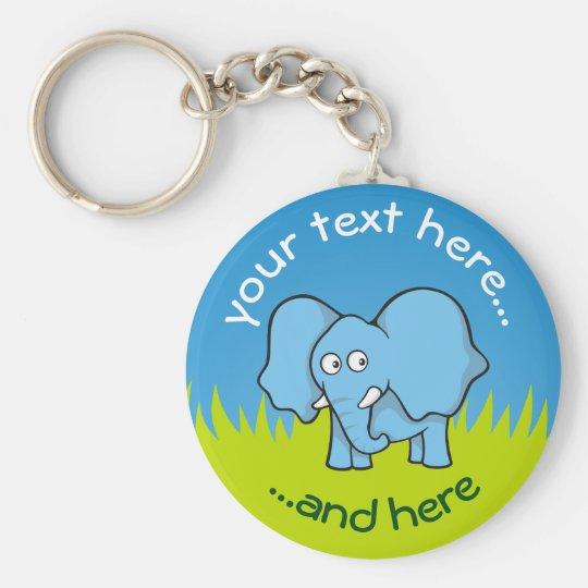 Blue elephant cartoon basic round button key ring
