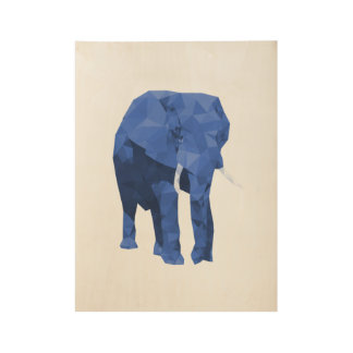 Blue Elephant Low Poly Art Wood Poster