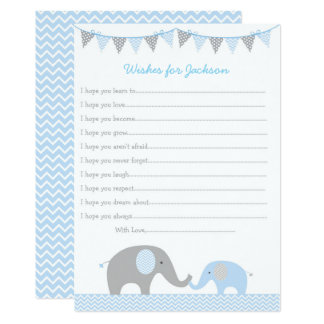 Blue Elephant Wishes for Baby Card