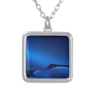 Blue Ellipses Square Pendant Necklace