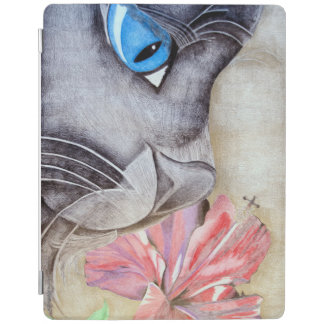 Blue-Eyed Cat and Flower iPad Cover