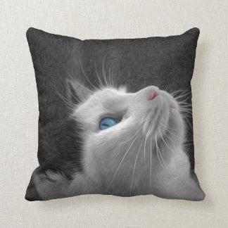 Blue Eyed Cat Photo Throw Pillow