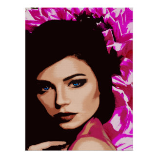 Blue eyed Lady Pink Pop Art Comic Style Poster