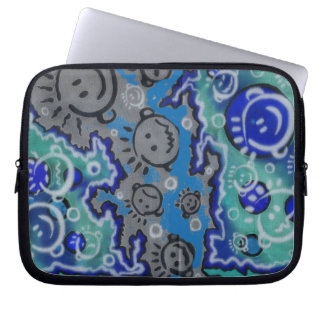 Blue faces line drawing laptop sleeve