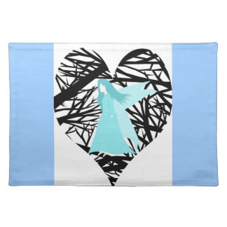 Blue fairy in love forest placemat